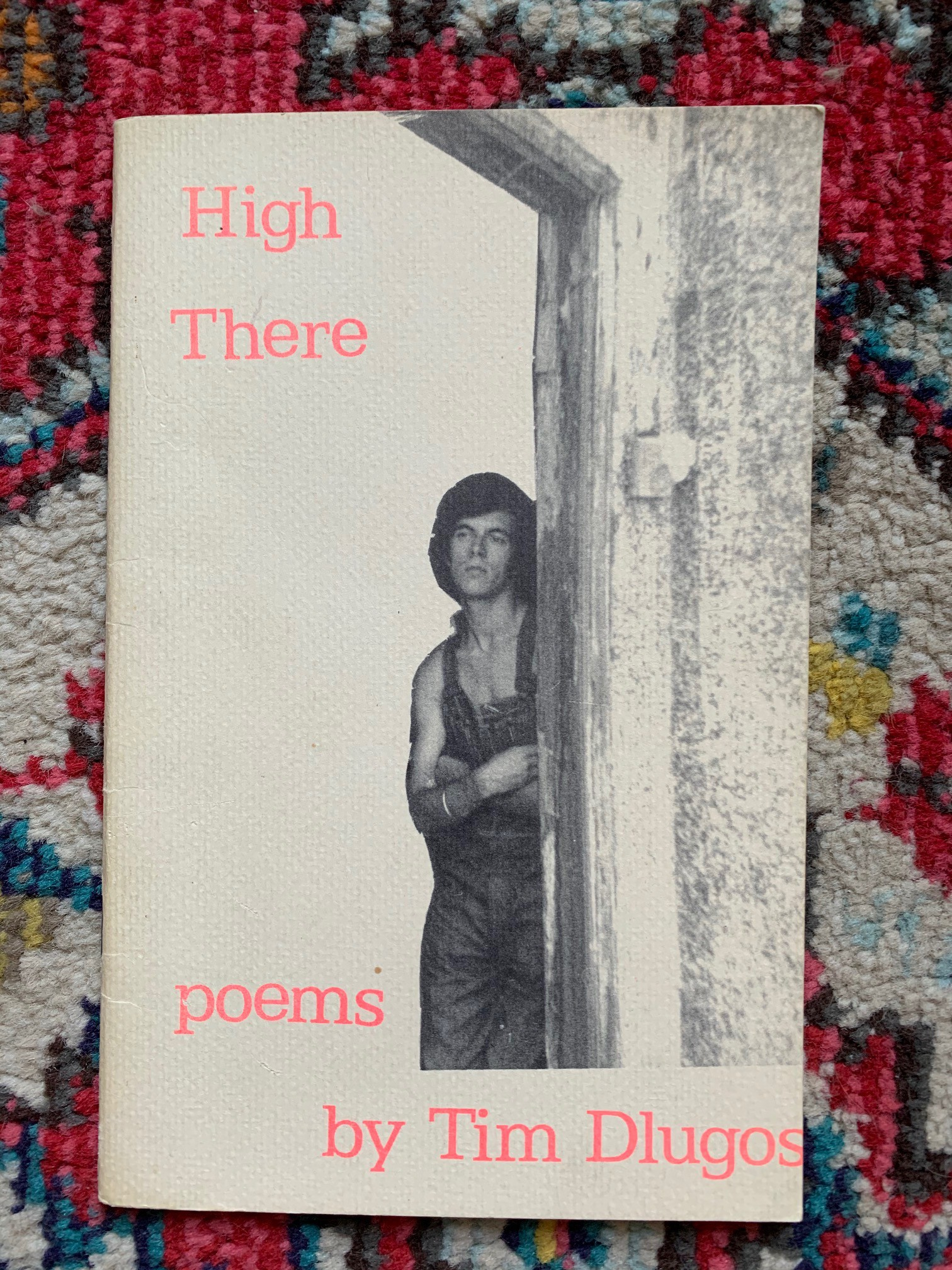 Photo of Tim Dlugos on the cover of his book High There against a colorful carpet background.