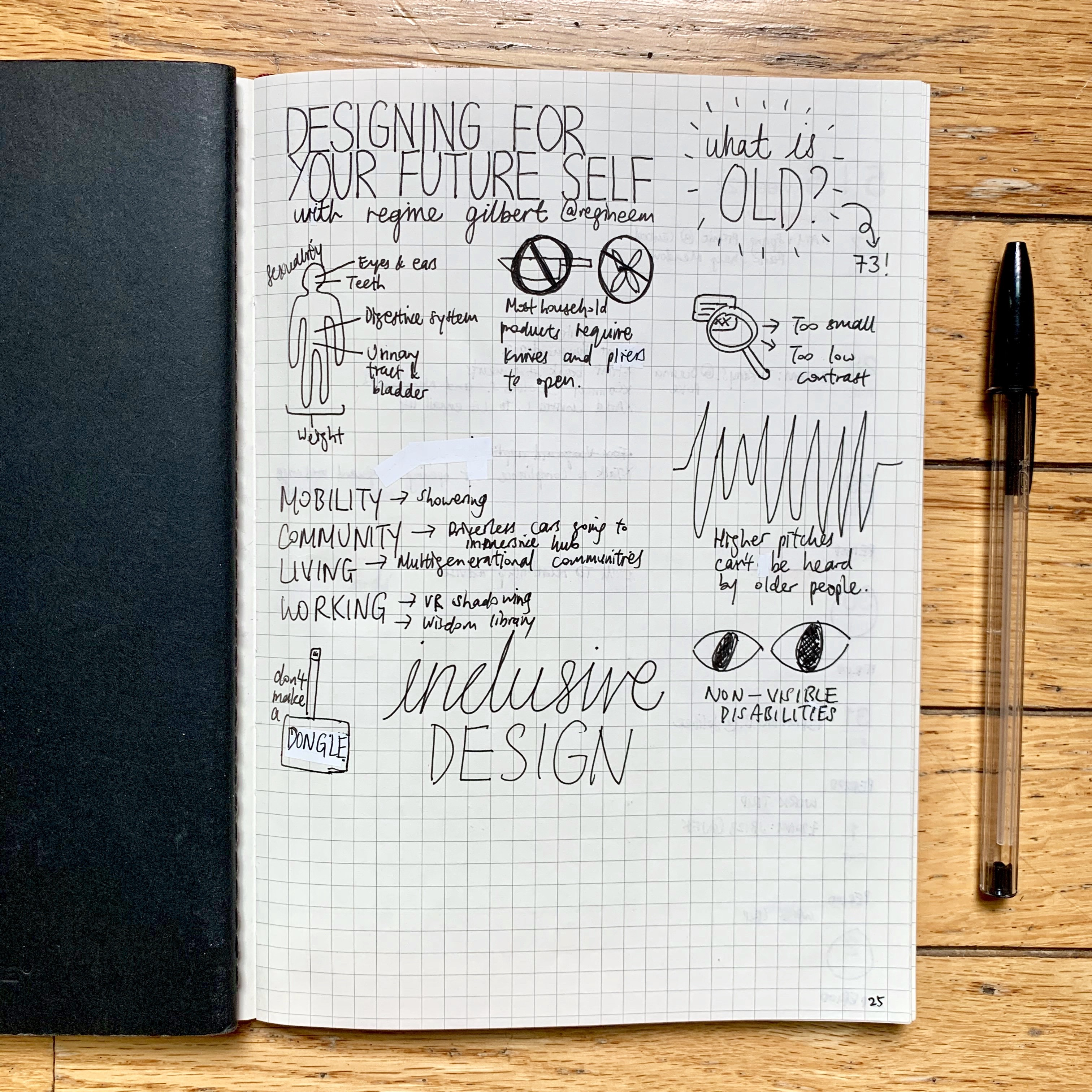 Sketch notes on Regine Gilbert's Designing for Your Future Self event, where she discussed aging and inclusive design