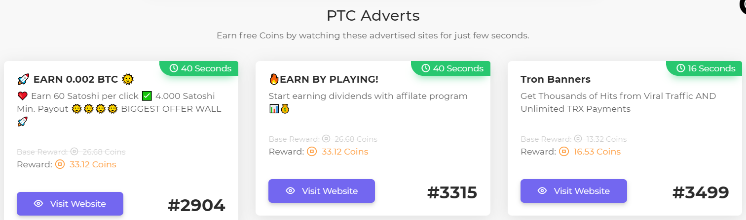 Paid to click ads available on FaucetCrypto.com