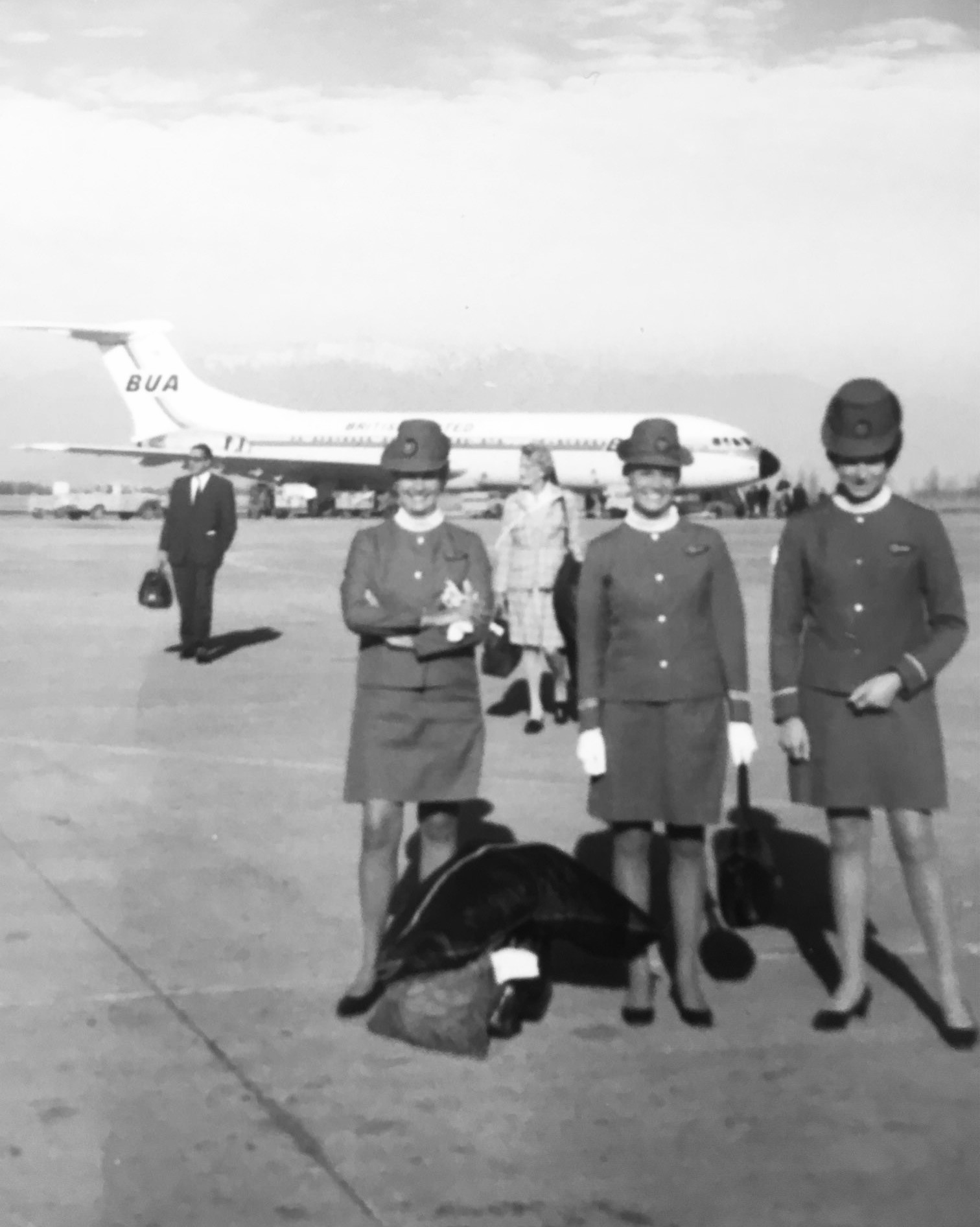 Black and white photo of stewardesses in the Sixties