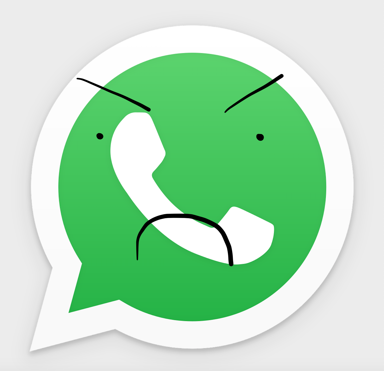 A picture of the WhatsApp logo (a chat bubble with a phone in it). A crude frowny face has been drawn over it in black