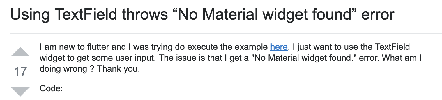 "A screenshot of a question posted to StackOverflow about the ""No Material widget found"" error."