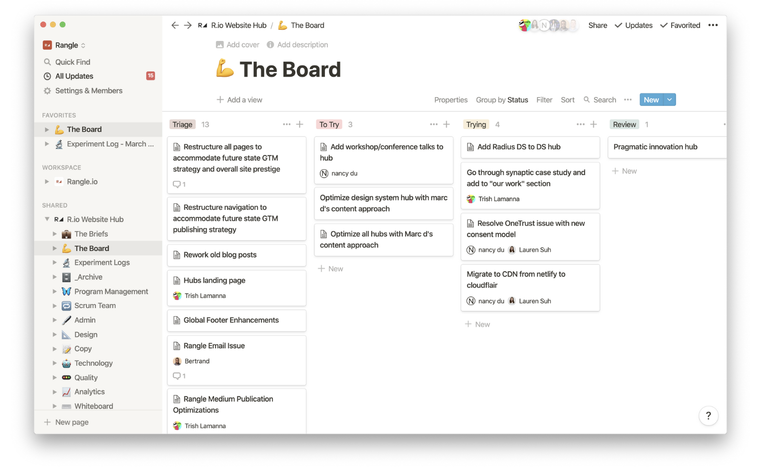 Weekly review of tasks in a Notion board