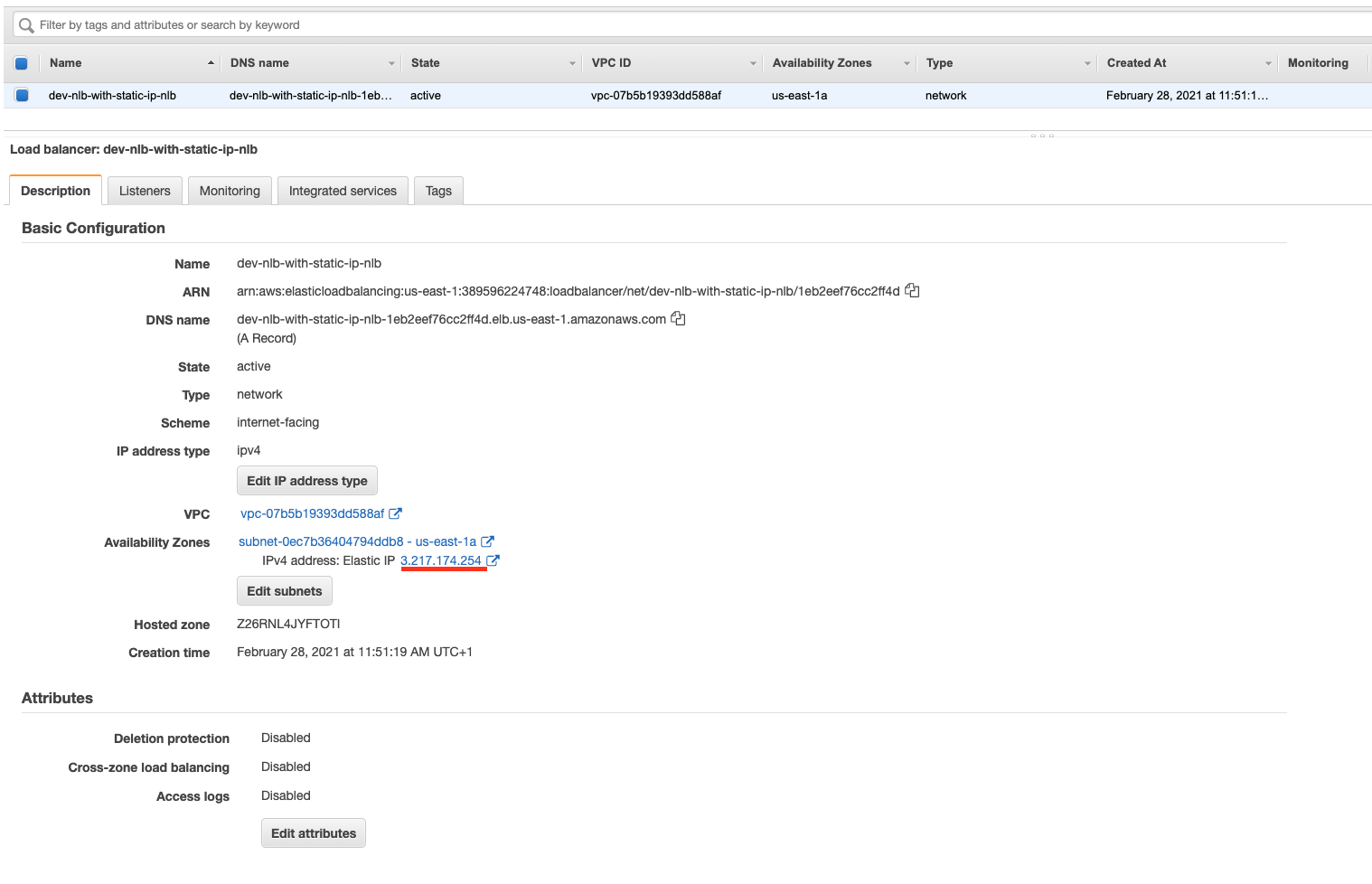 The Network Load-Balancer (NLB) with the public Elastic IP (EIP) in the AWS web console