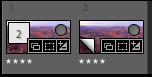 Screenshot of two thumbnails in Lightroom