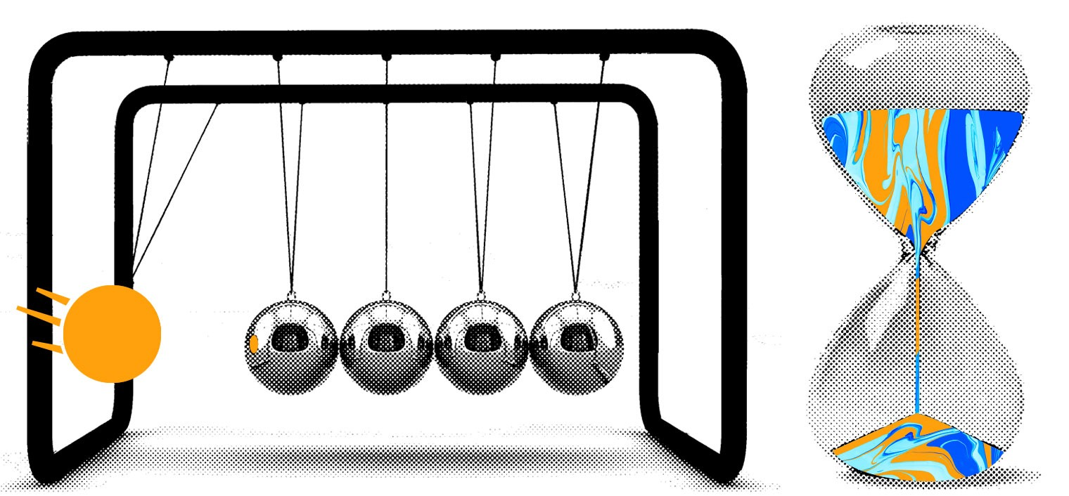 Newton's Cradle and an hourglass