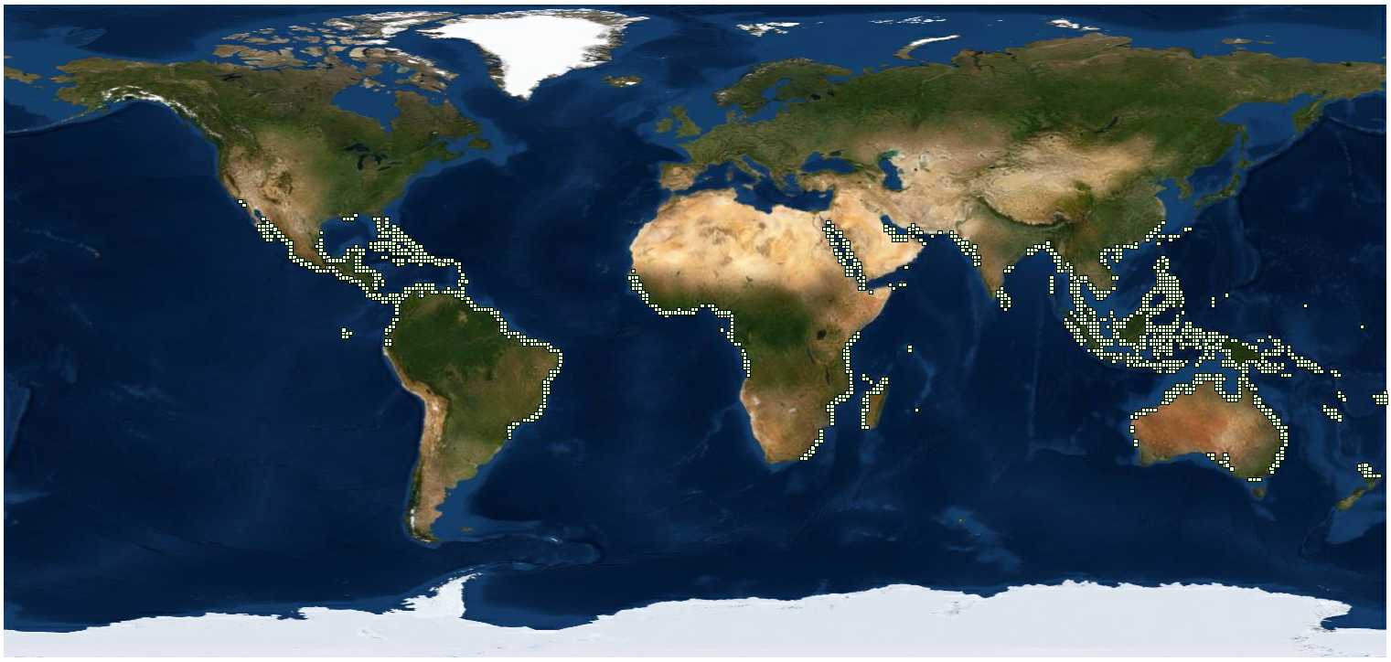 World map showing all of the MGRS squares that are included in the dataset