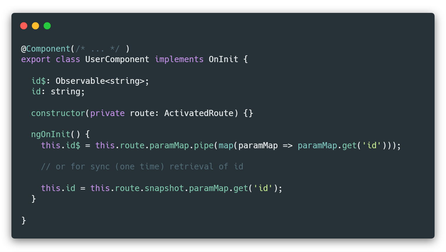 How To Get Route Path Parameters In Non-Routed Angular
