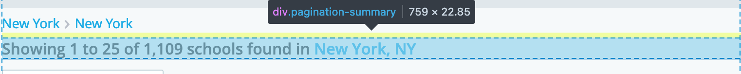 """Image of pagination summary. It says """"Showing 1 to 25 of 1,109 schools found in New York, NY"""""""