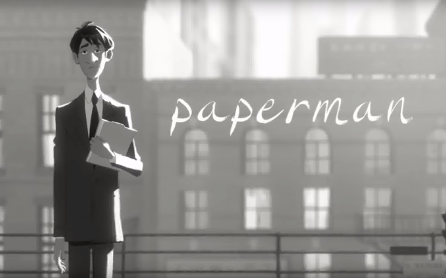 Screenshot from Disney's Paperman Animated Short