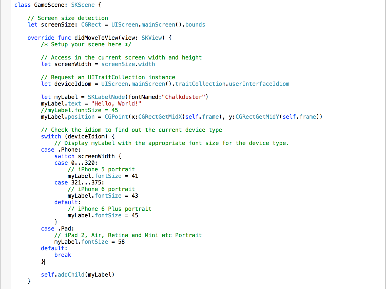 Detect iOS device types, screen width and height for SpriteKit