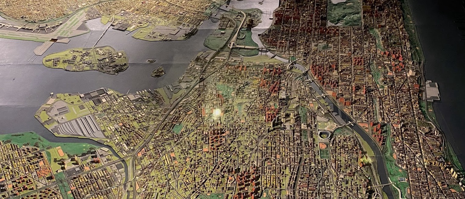 Close up of the Panorama of the City of New York, an exhibition at the Queens Museum that shows a model version of the city.