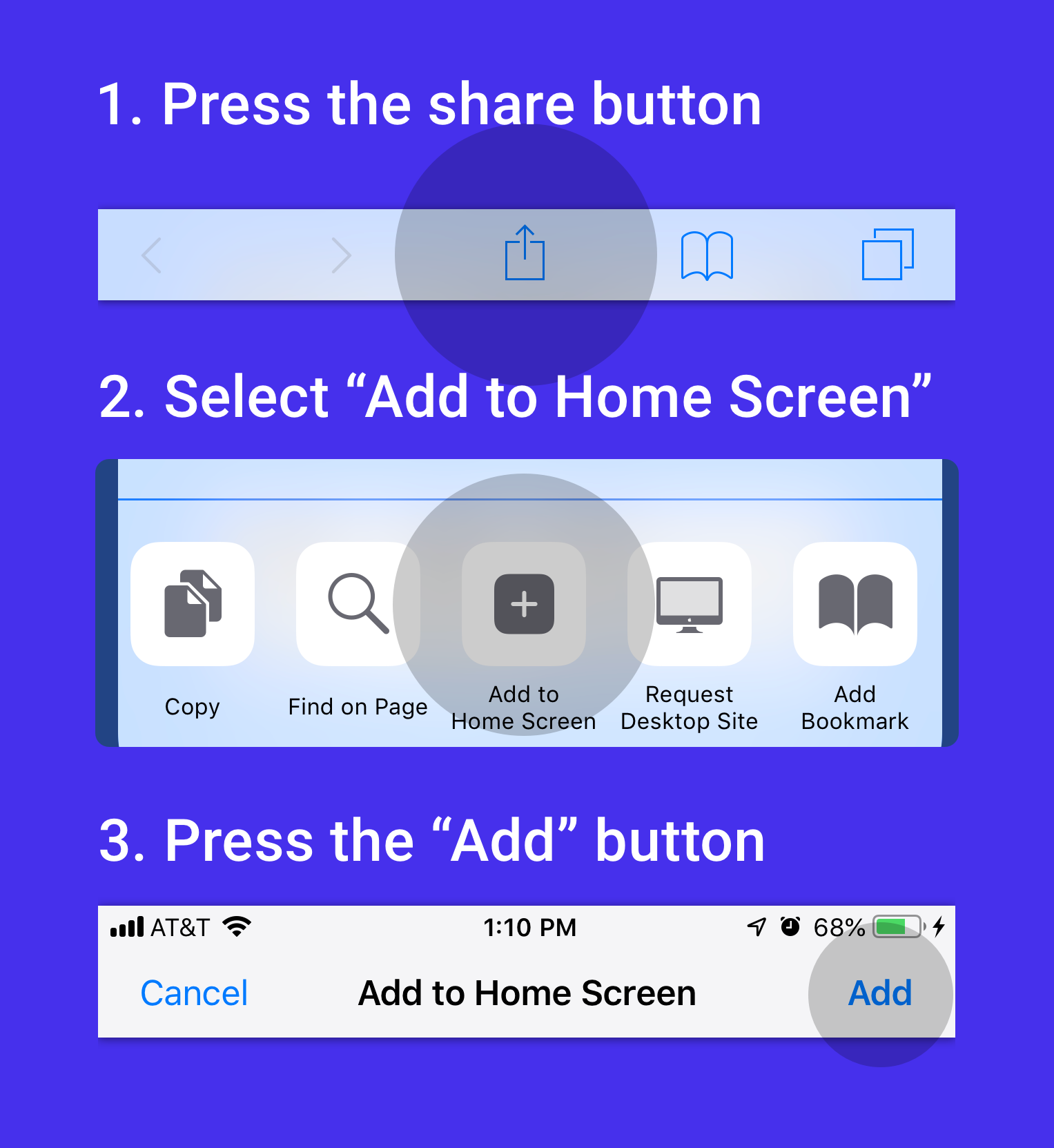 Add to Home Screen on iOS devices.