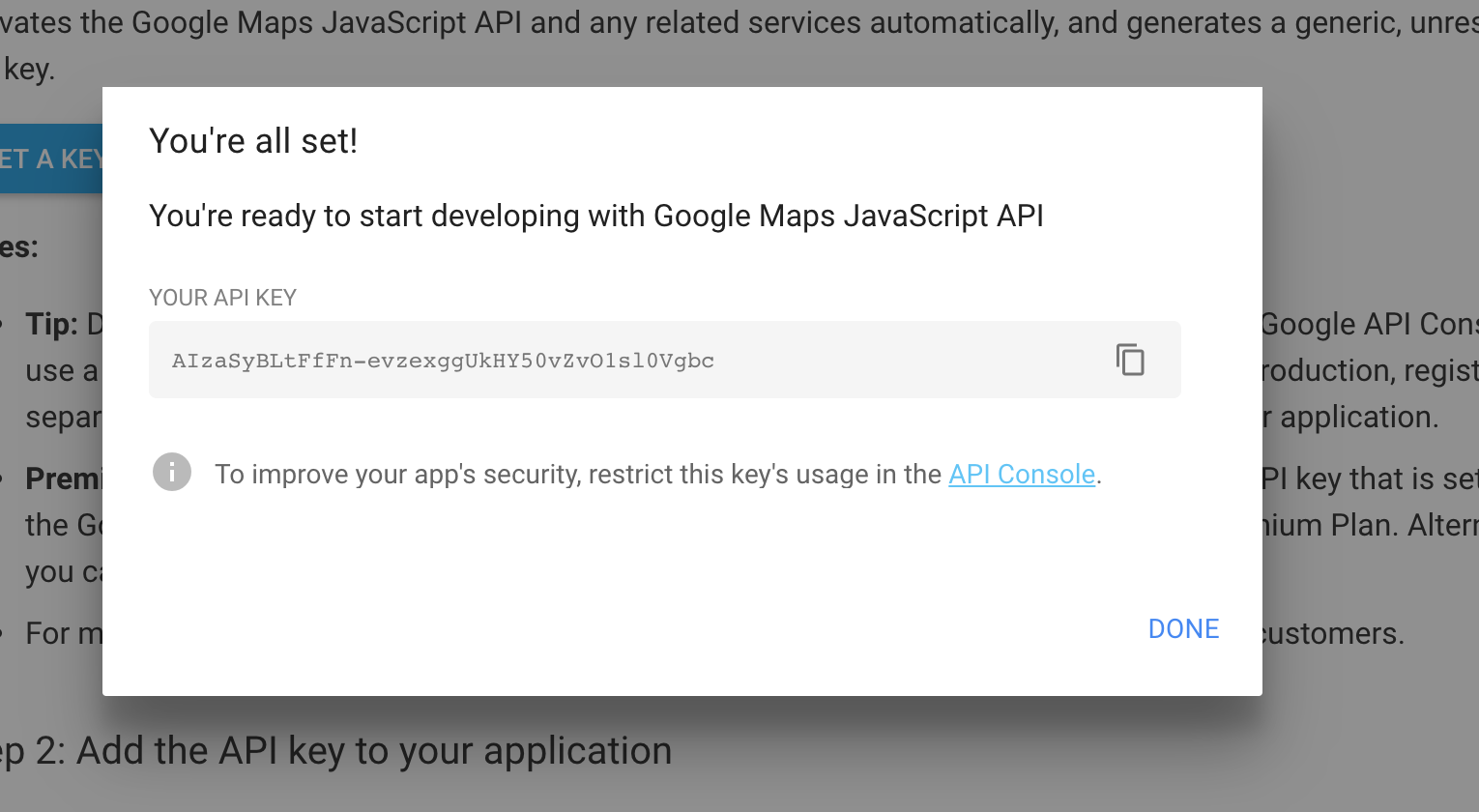 How to get a key from Google Maps JavaScript API - Quick