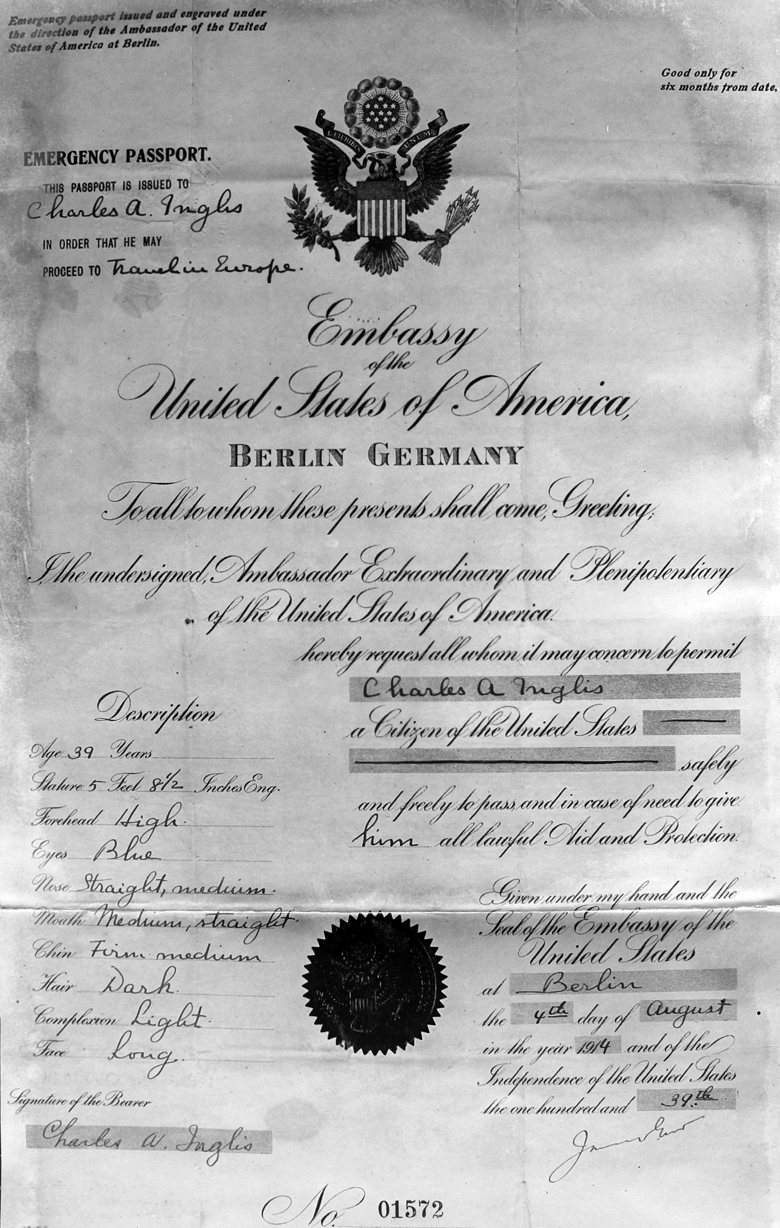 Lody's American documents, in the name of Charles A.