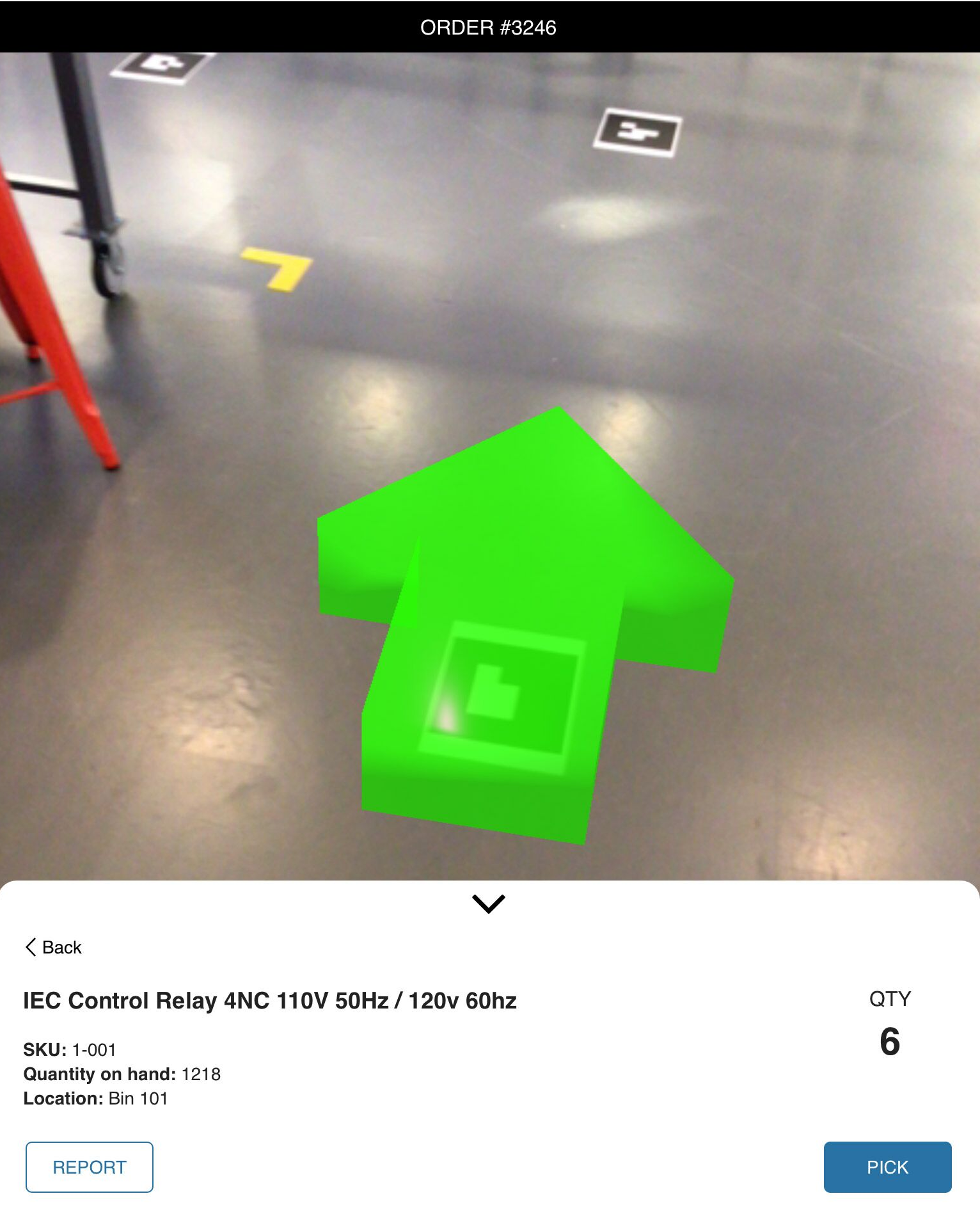 AR-generated arrows guide warehouse employees to an item's location.