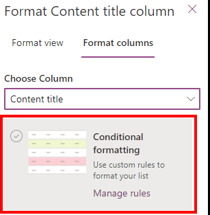 Microsoft Lists Conditional Access formatting