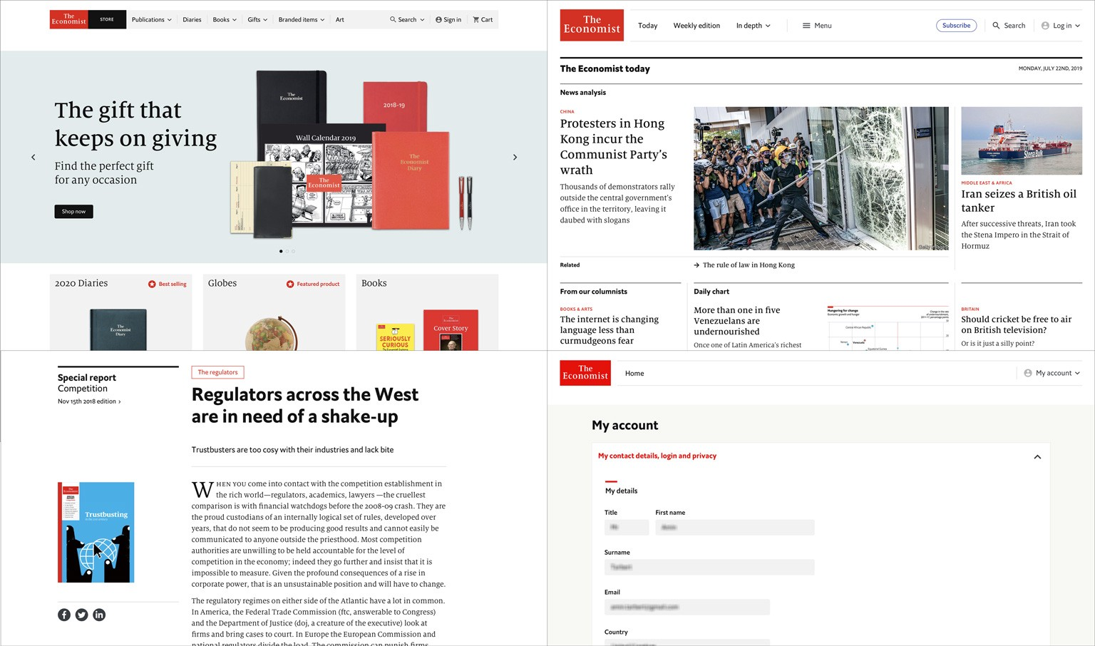Screenshots of our upcoming product offering: The Economist Store, economist.com and My Account