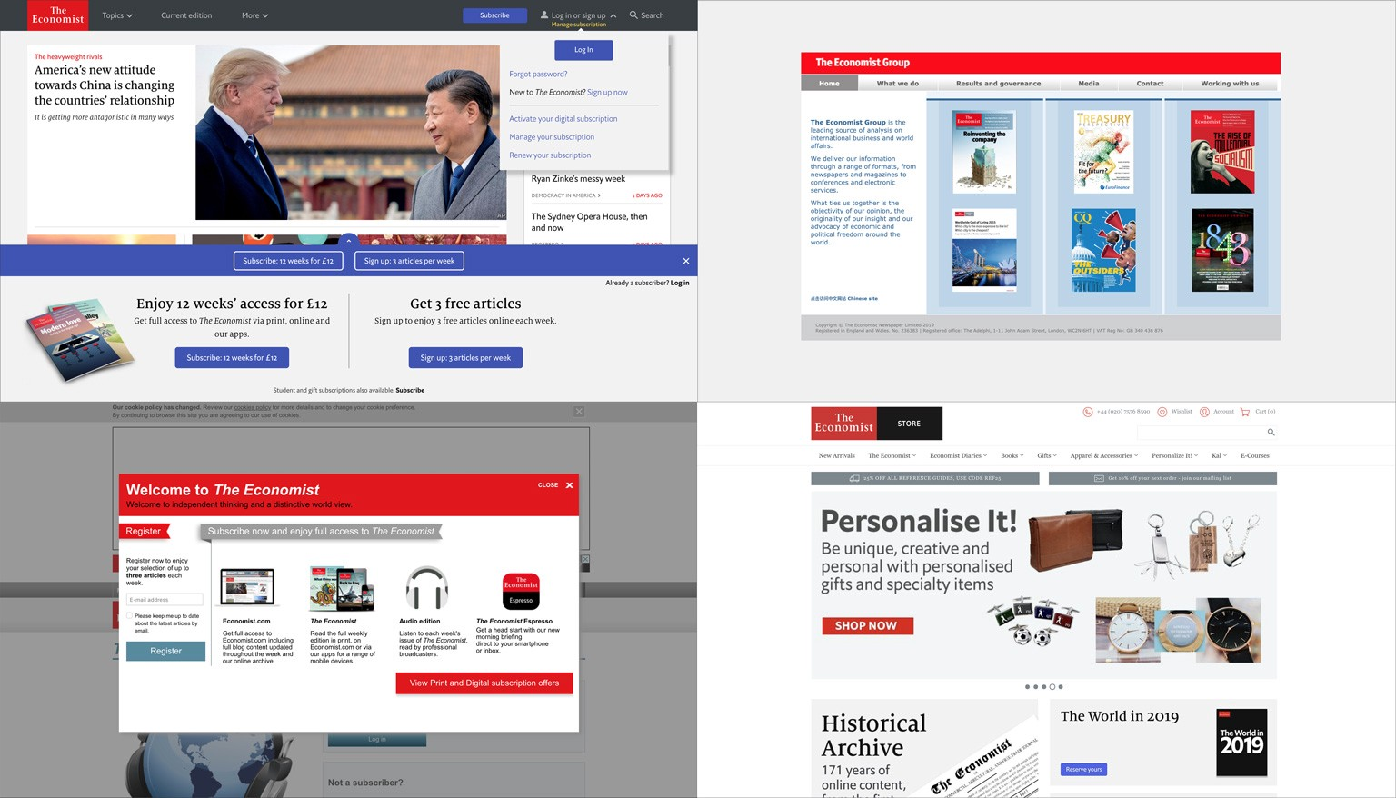 Screenshots of our digital product offering: economist.com, The Economist Group, Audio and The Economist Store
