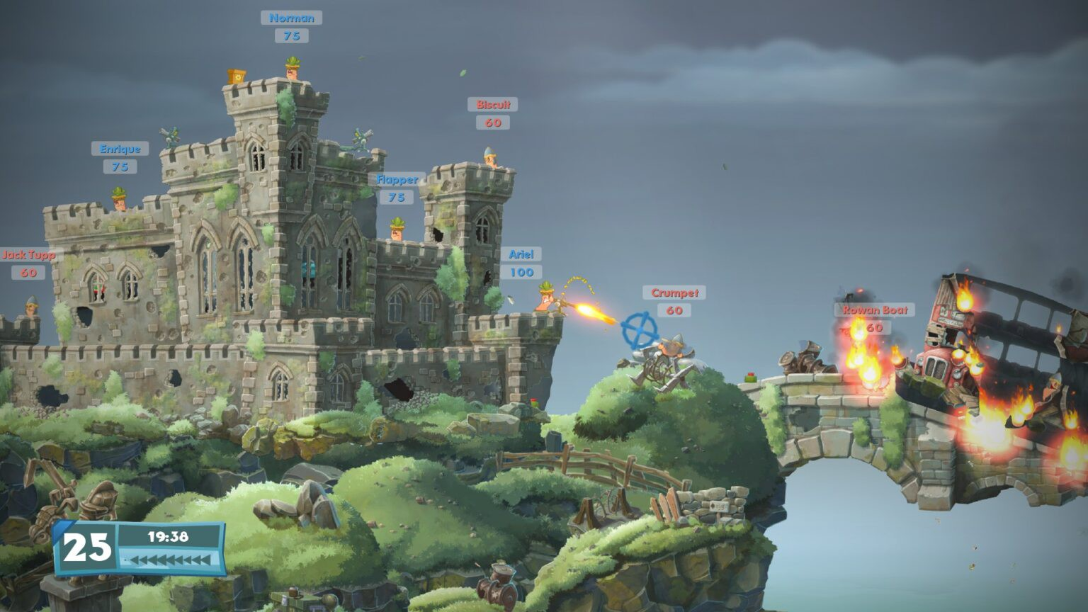 An in game screenshot of worms fighting on top of a castle.