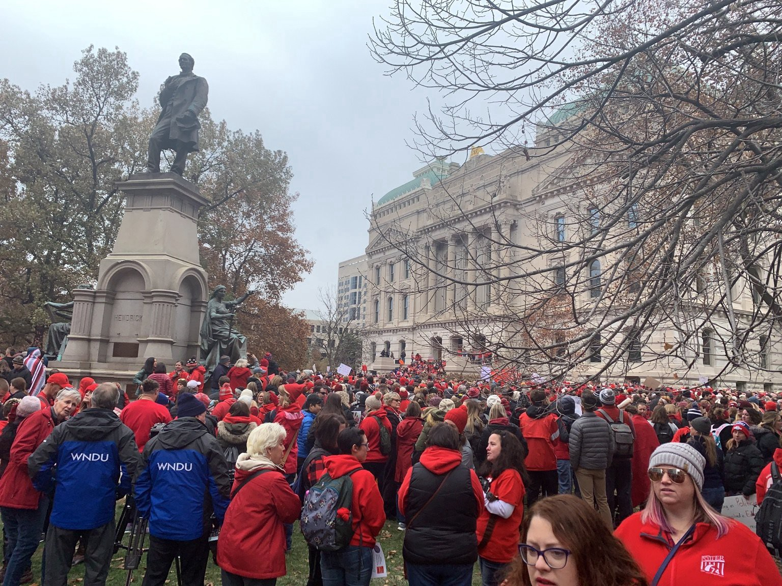 Advocates on the Statehouse lawn at Indiana's #RedforEd rally in November 2019.