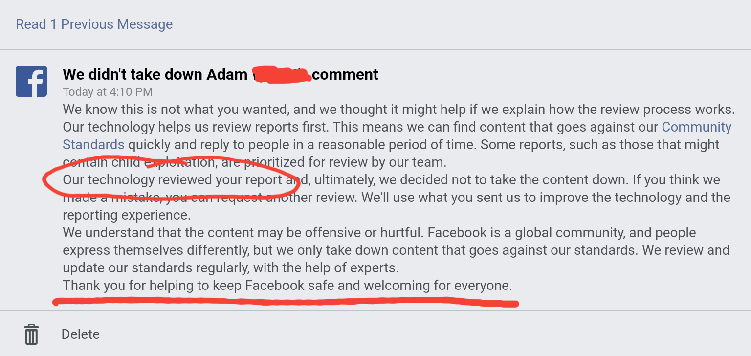 Facebook notification that the reported comment wasn't removed