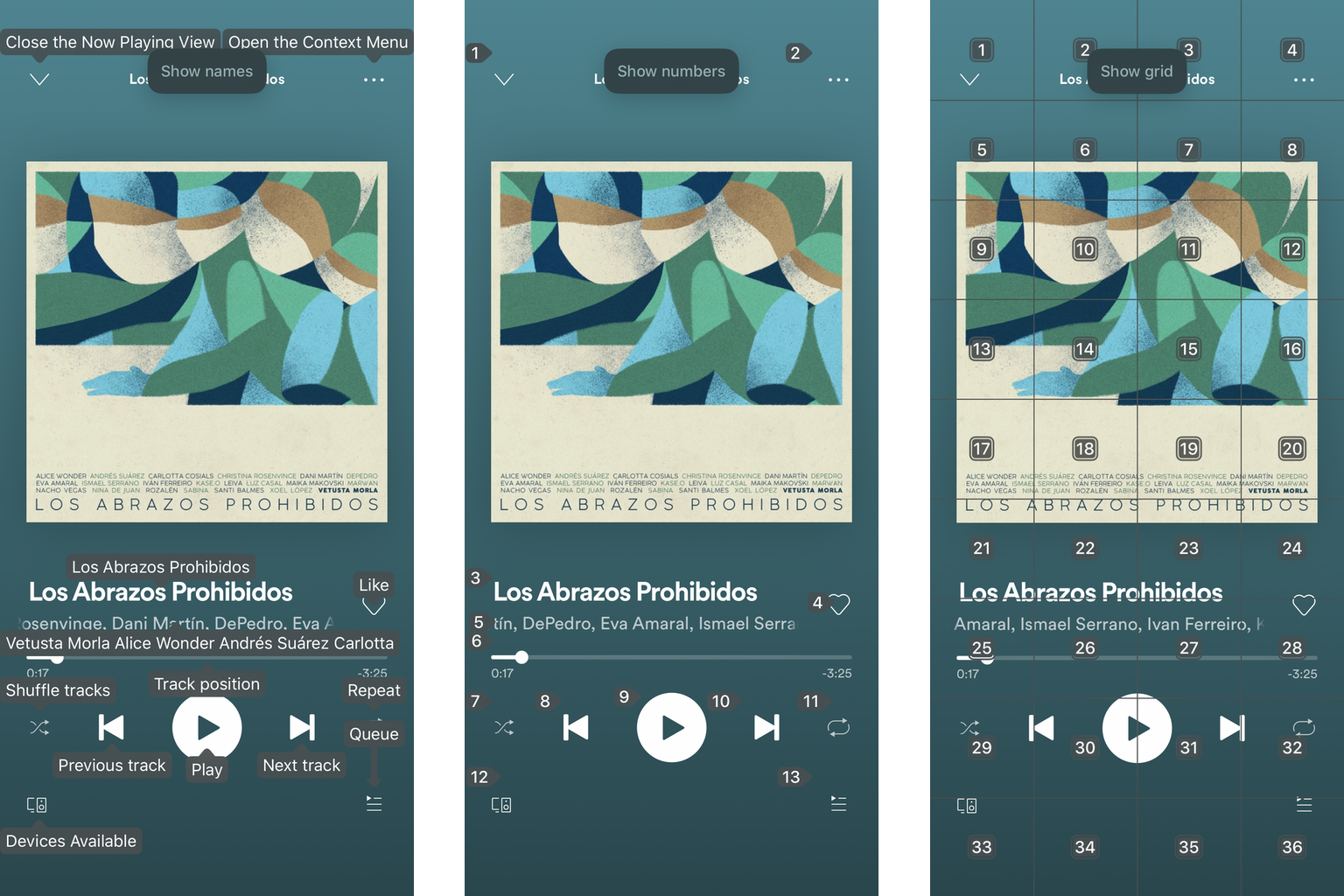 Three screenshots of the Spotify app with examples on how it looks when using Voice Control showing names, numbers or a grid.