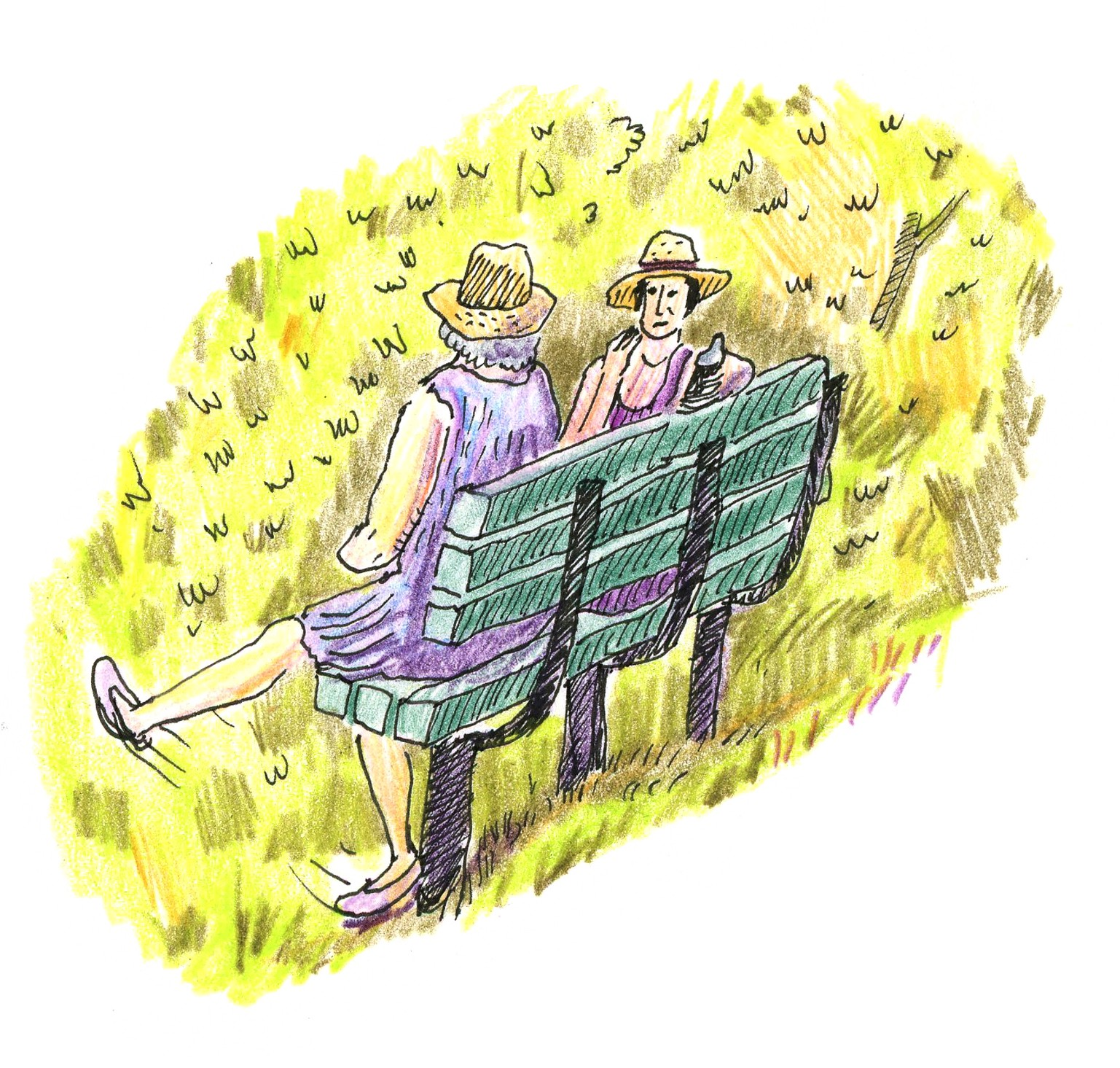Two older women sit on a bench in the shade.