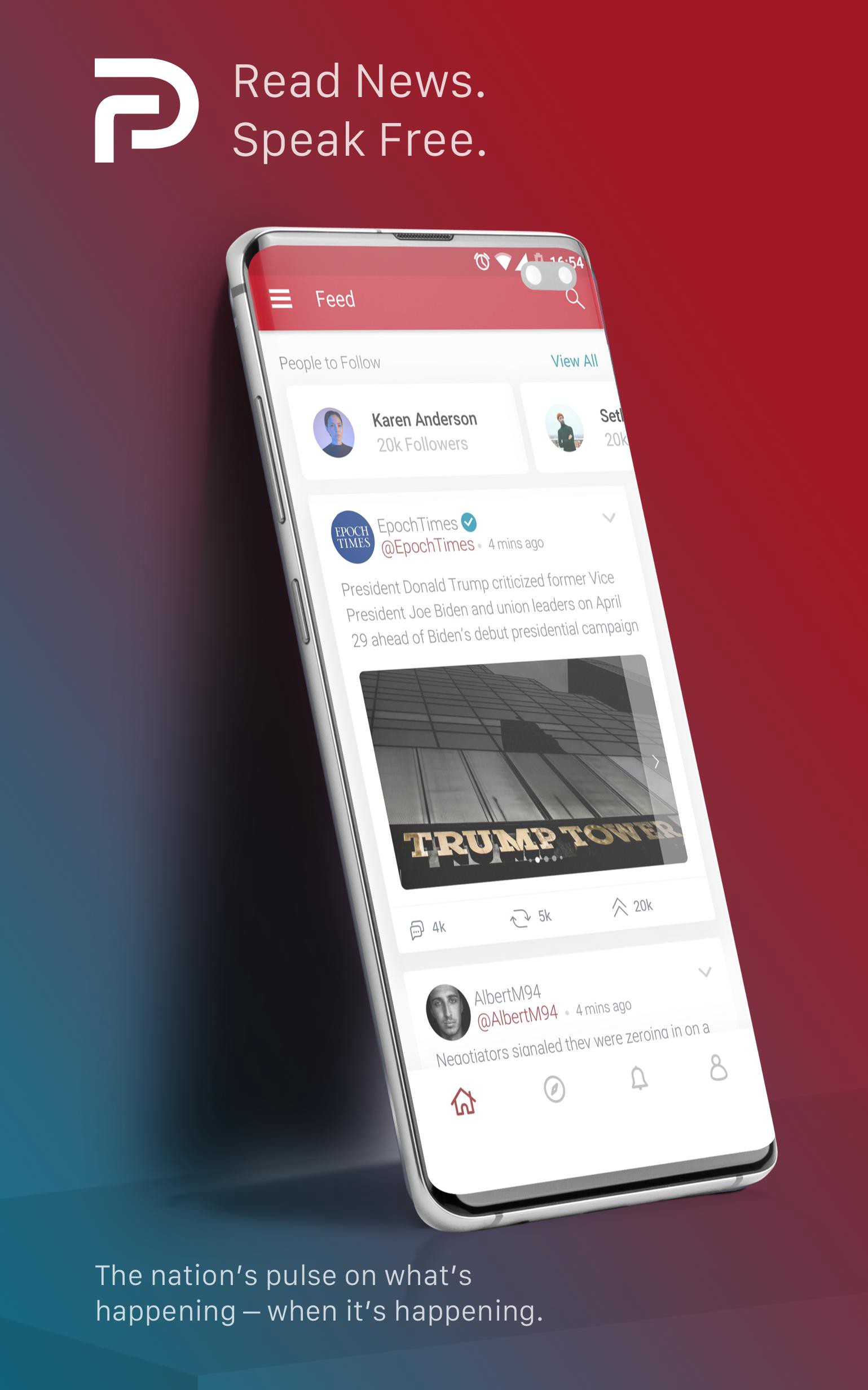 Image of an ad for the social media app, Parler.