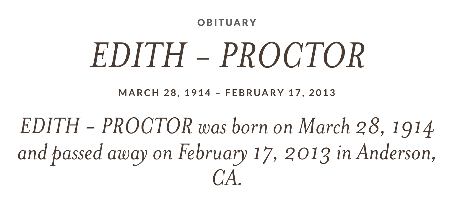 Edith Proctor's obituary