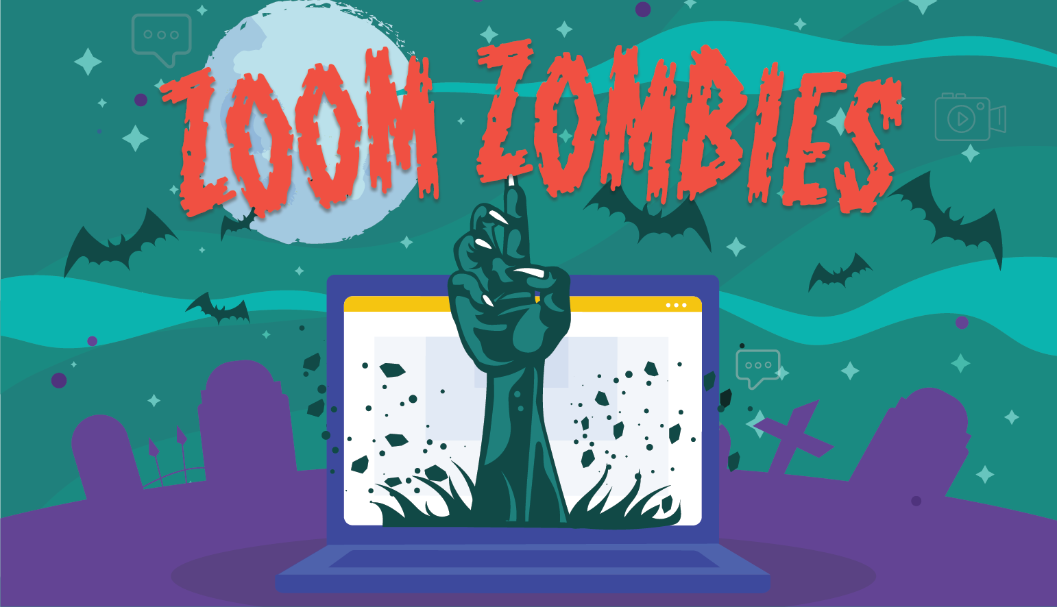 "cartoon zombie arm popping out of laptop in cemetery. text reads ""ZOOM ZOMBIES"""