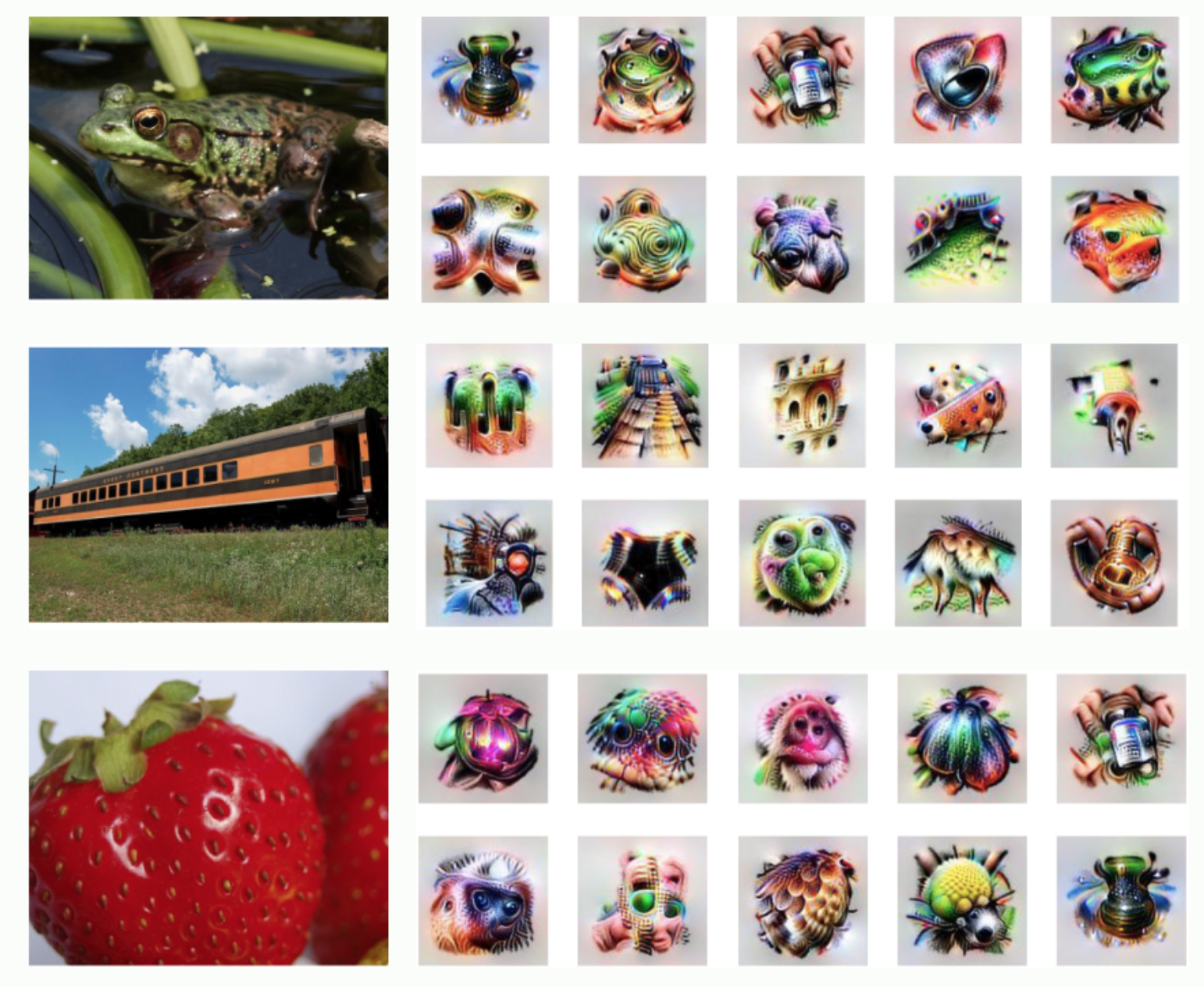 A frog, train, and strawberry with AI produced images that describe features, textures, and patterns for each