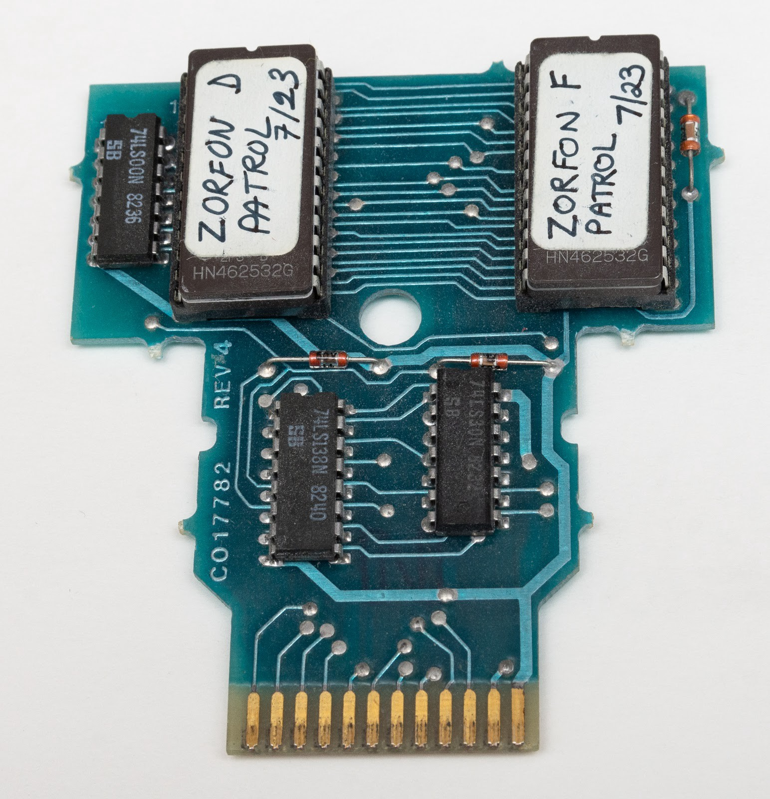 A photograph of the Zorfon Patrol PCB taken from the prototype cartridge.