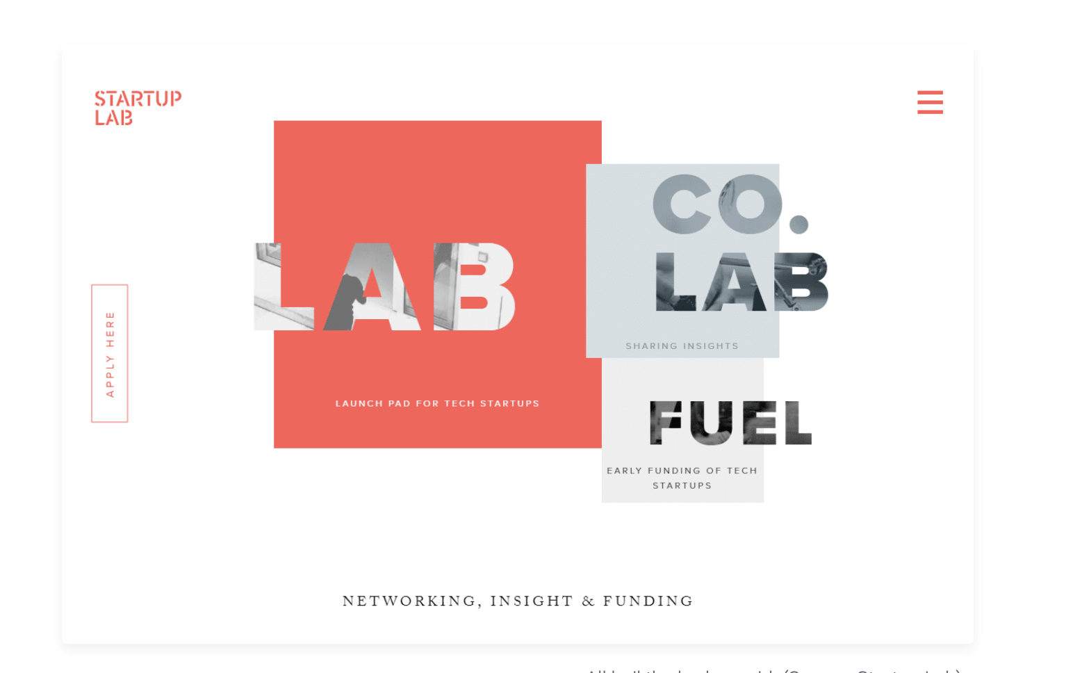 Startup lab website in 2019 was full of geometrical shapes