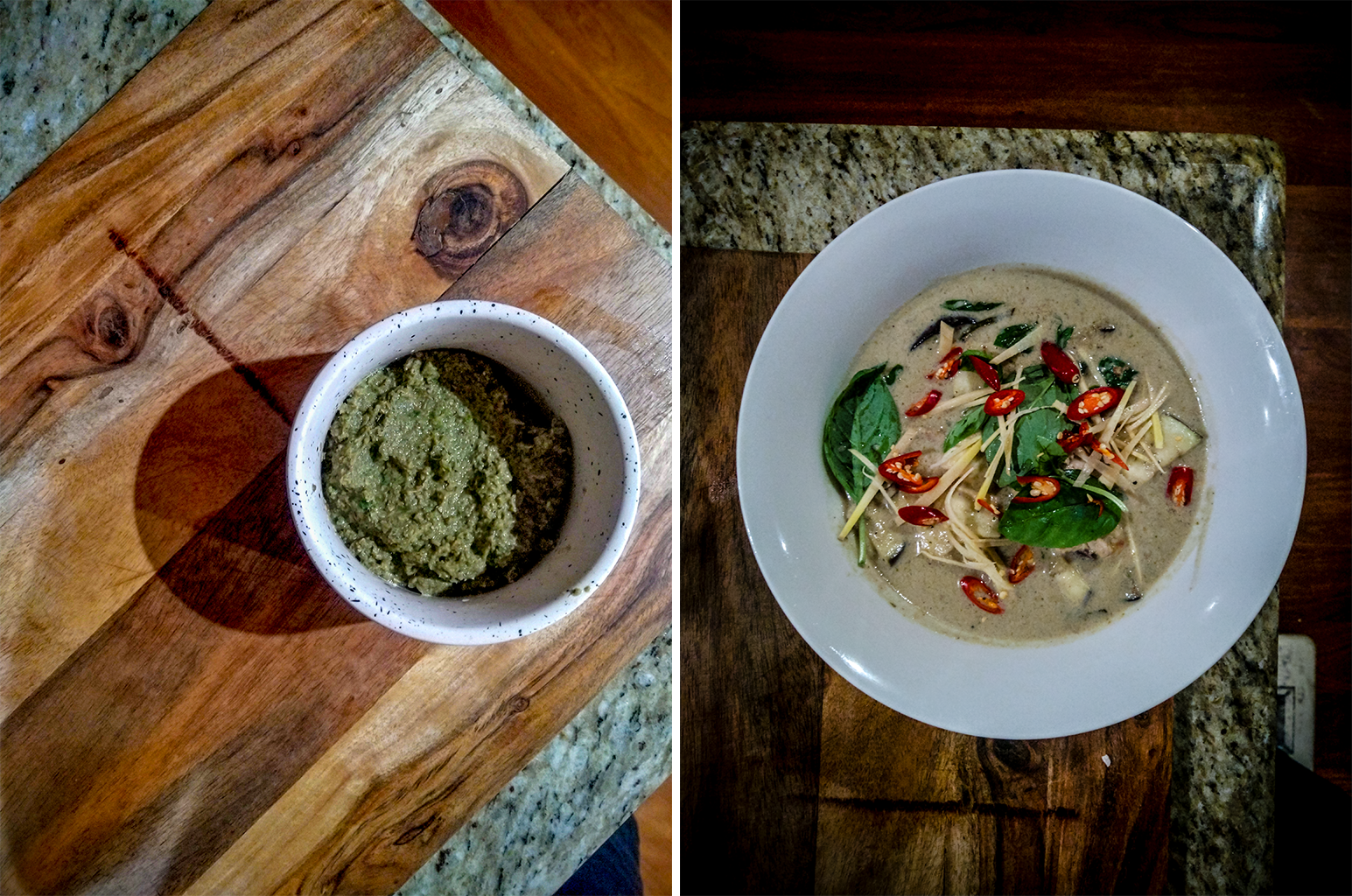 L: Overhead shot of a bowl of curry paste. R: Overhead shot of the finished bowl of curry.