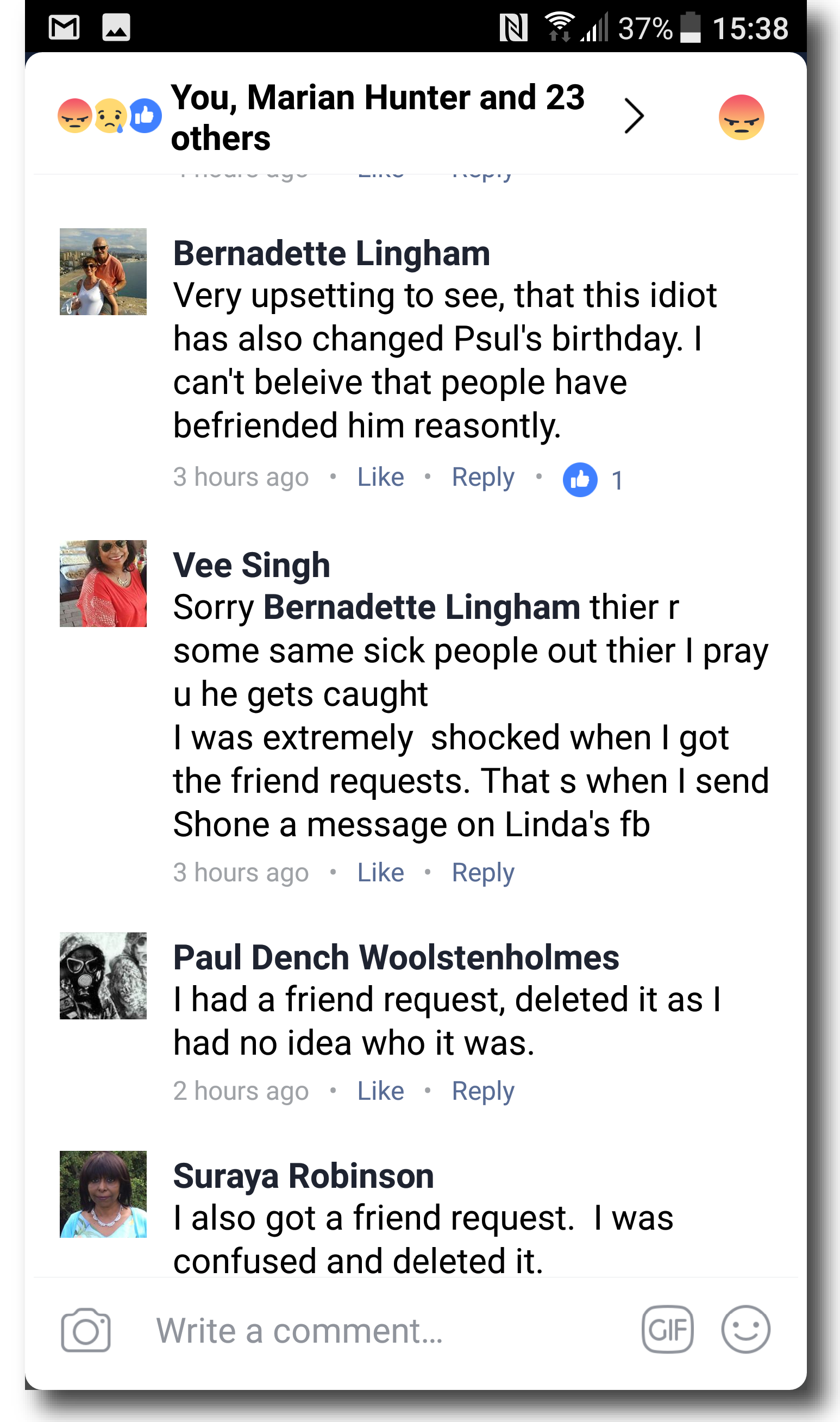 The hijacking of Paul Lingham's Facebook account - Erin