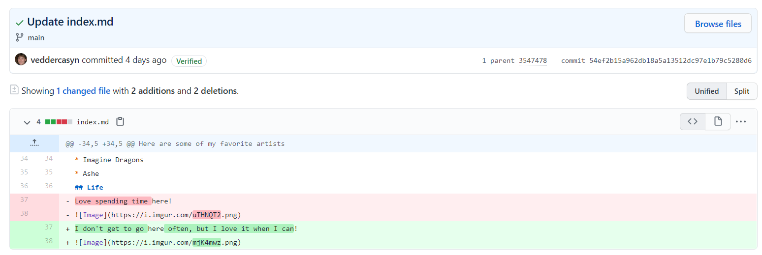 A screenshot of a GitHub commit containing an image link
