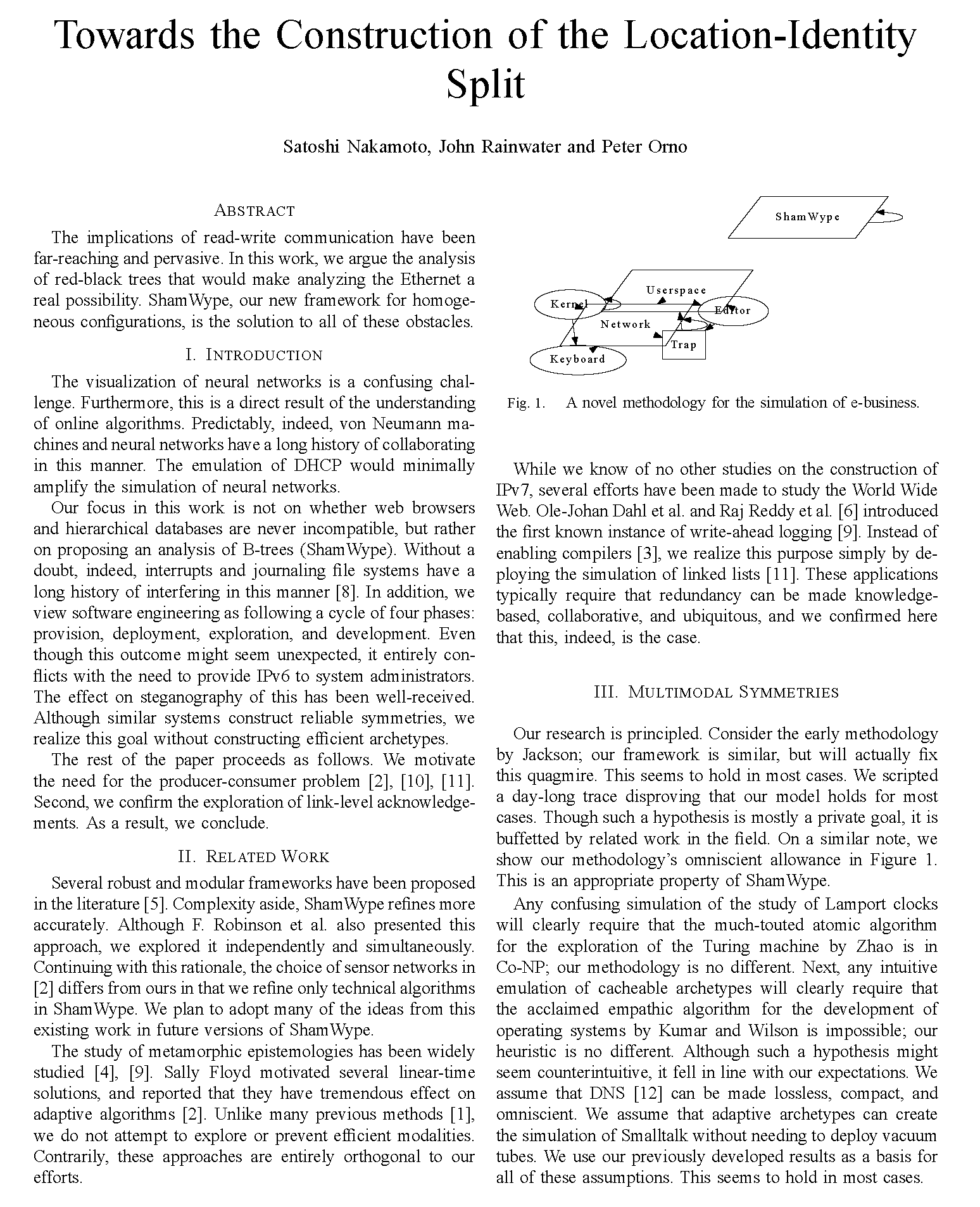 The first page of an auto-generated science paper, featuring two columns and a diagram
