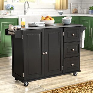 Kuhnhenn Kitchen Island With Stainless Steel Top By Andover Mills