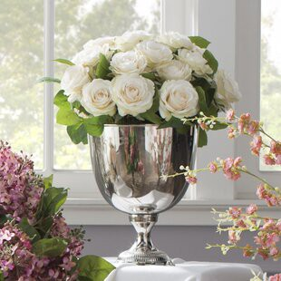 Rose Bouquet In Silver Metal Urn By Jane Seymour Botanicals Onsales Discount Prices By Robert Medium