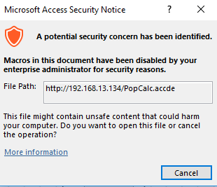 Phishing tales: Microsoft Access Macro ( MAM) shortcuts