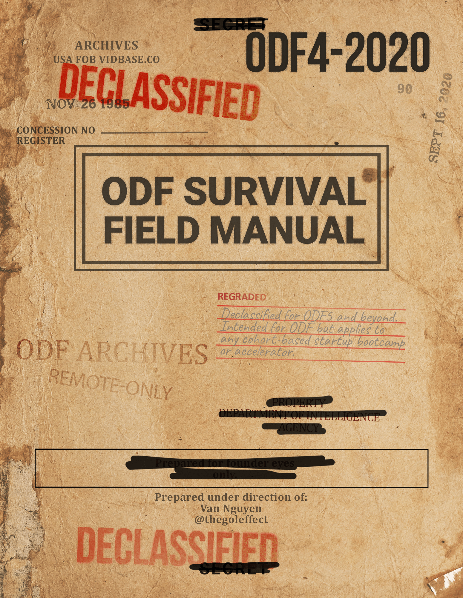 """Antique, faded book cover for """"ODF Survival Field Manual"""" with redactions, declassified stamps, and signs of wear and aging."""