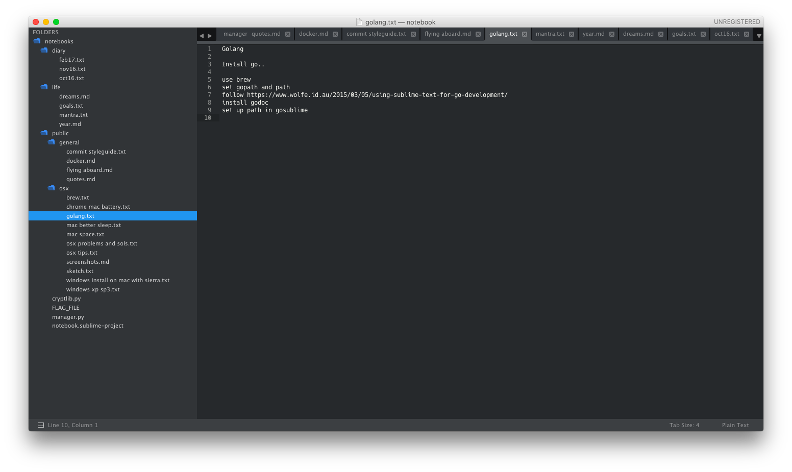 Sublime Notebook: An attempt to use Sublime Text as my note