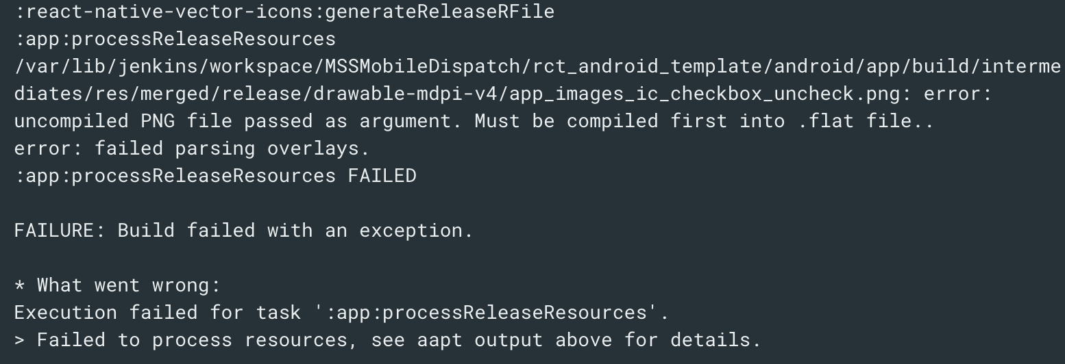 React native build release error: uncompiled PNG file passed