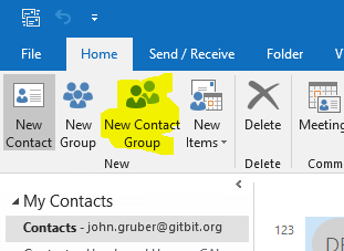 Microsoft Outlook new contact group button