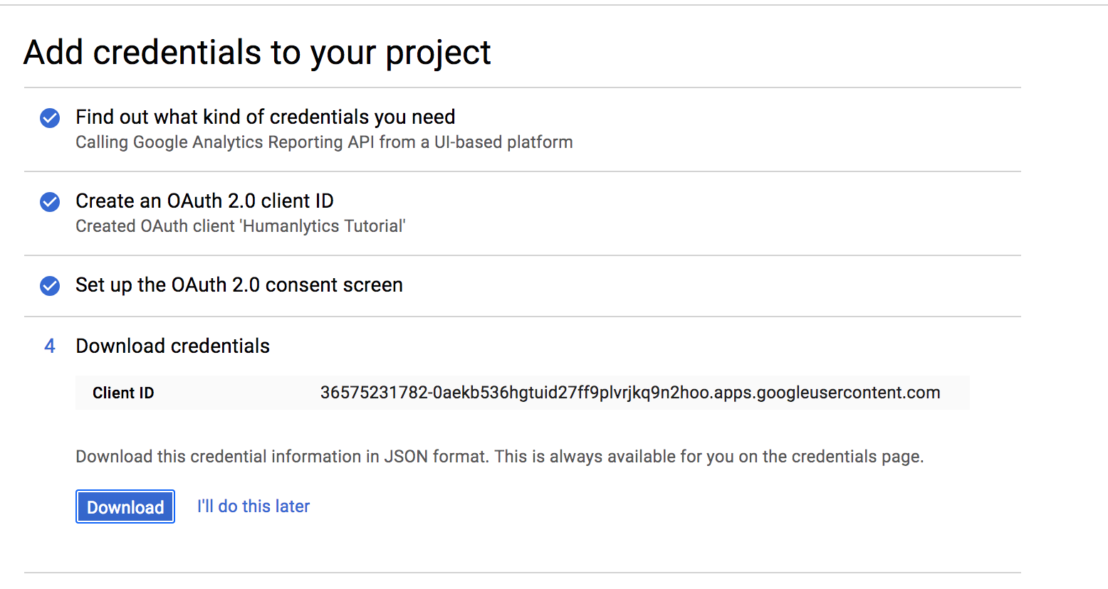 Submitting your first Google Analytics Reporting API Request