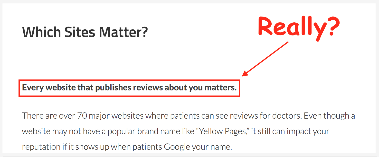 Doctors: Do All Rating Sites and Online Reviews Matter?