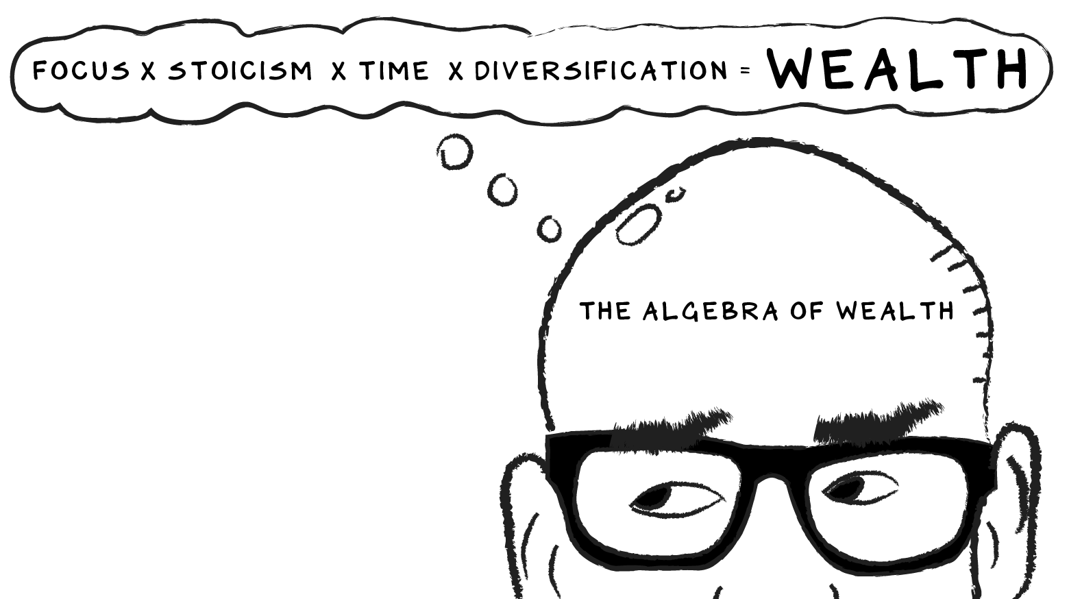 """Illustration of Scott Galloway with a thought bubble forming with the equation """"Focus x Stoicism x Time x Diversification = WEALTH"""""""