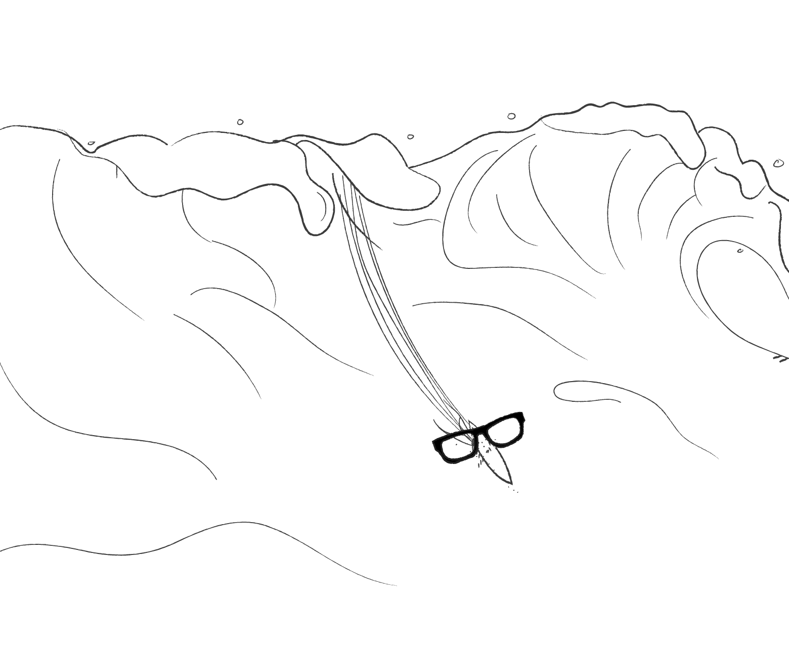 An illustration of a pair of thick rimmed glasses on a surfboard going down a giant wave.