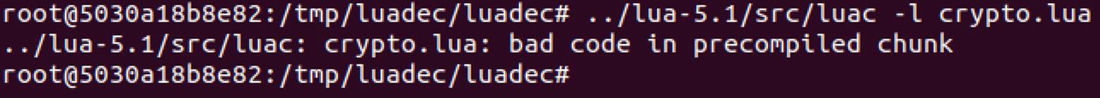 luac bad code in precompiled chunk